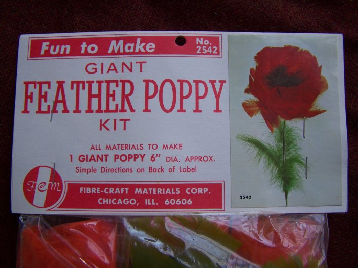 1960s Vintage Mod Giant Feather Poppy Flower Craft Kit Pattern $1 USA Shipping