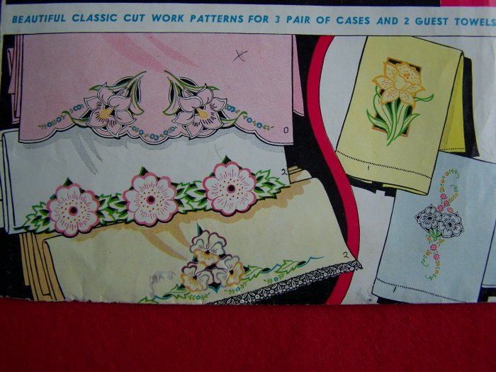 Vintage Vogart 233 Original Transfer Pattern Pillowcases Towels Heirloom Embroidery