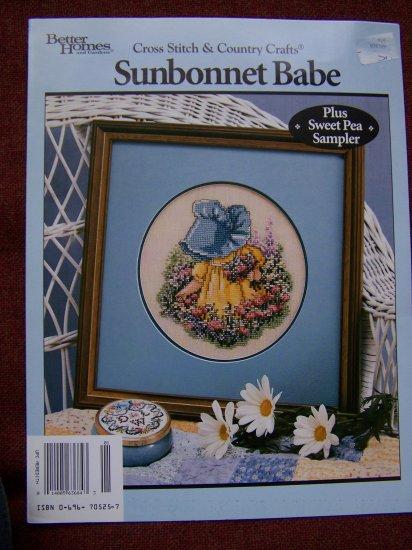 Vintage Sunbonnet Babe Cross Stitch Pattern Sweet Pea Sampler 1 Penny USA S&H