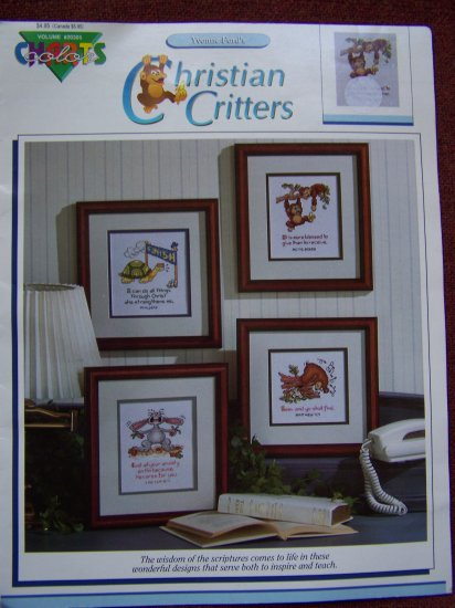 1992 Yvonne Ford Christian Critters Color Charts Inspirational Bible Verse Needlepoint Graphs