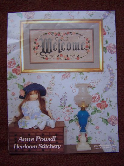 1993 Anne Powell Welcome Heirloom Counted Cross Stitch Pattern USA 1 Penny S&H