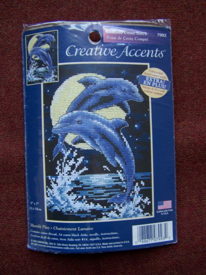Counted Cross Stitch Kit Moonlit Play Dolphins # 7993 Creative Accents 1 Penny USA S&H