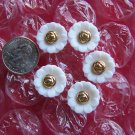 Vintage Buttons White Plastic Flower Gold Center 5 Lot 1 Cent Shipping