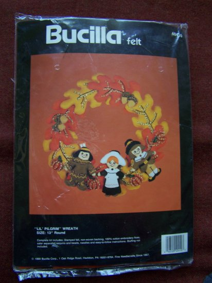 $1 USA S&H Bucilla Felt Thanksgiving Lil Pilgrim Fall Wreath Kit Sequins Beaded Needlepoint