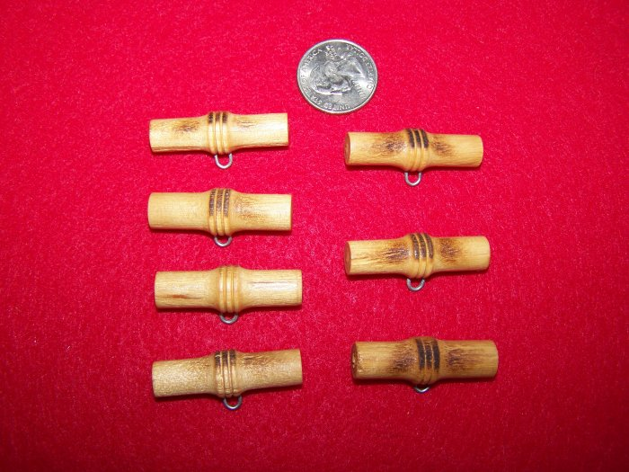 7 Vintage Buttons Wood Bamboo Toggle Button Wooden Lot Metal Shank US 1 Cent S&H