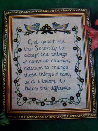 Vintage Crewel Creative Stitchery Sampler Kit Serenity Prayer USA 10 Cent S&H