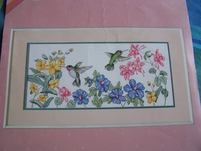 Vintage Stamped Cross Stitch Kit Summer Visit Hummingbirds on Floral From The Heart 53022