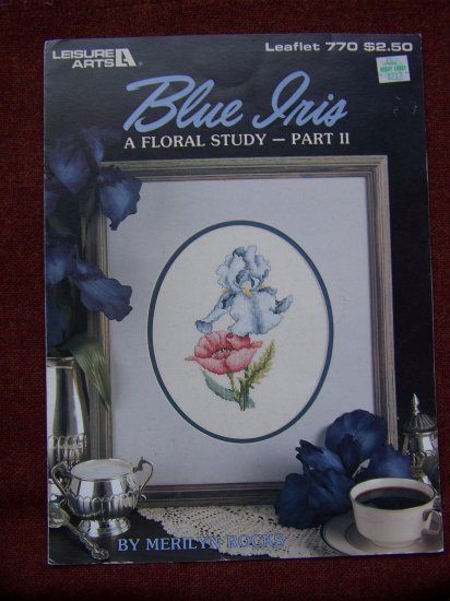 2 Vintage Leisure Arts Pattern Leaflets Counted Cross Stitch Blue Peach Iris 769 770