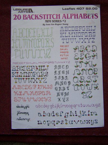 Vintage Leisure Arts Leaflet 407 Backstitch Mini Alphabets + Vogart Monogram Transfer Patterns