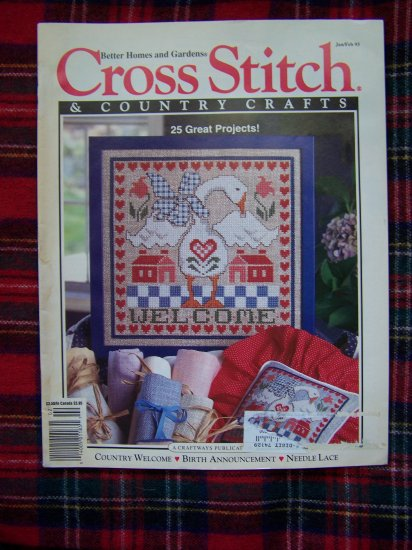 Cross Stitch Country Crafts Pattern Magazine Jan Feb 93 Back Issue Out of Print Needlework