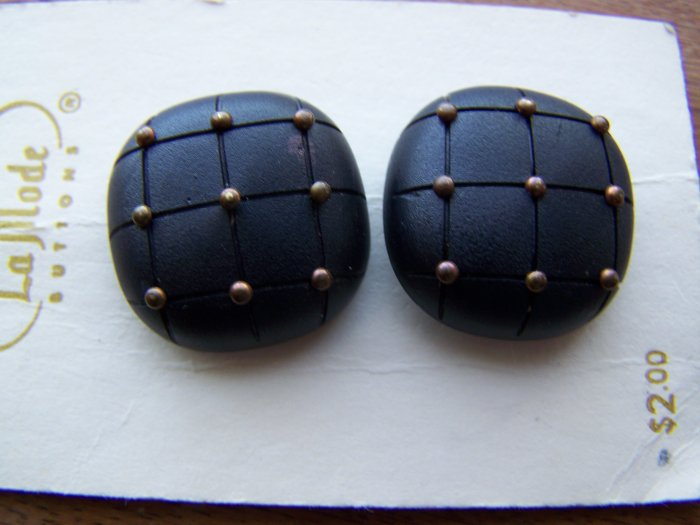 2 Vintage Italian La Mode Sewing Buttons 7/8 Black Square Gold Beads