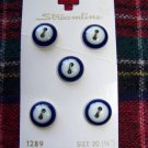 "Vintage Streamline Buttons on Card 1/2"" Round White Center Navy Edges Sew Thru"