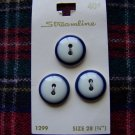 Vintage Sewing Buttons Streamline Card 3/4 White Navy Ring 1 Cent USA S&H