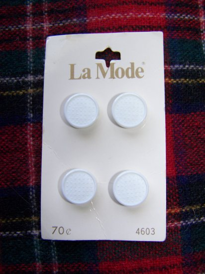 La Mode Vintage Japan White Round Plastic Buttons Shank USA 1 Cent Shipping