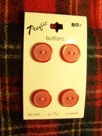 8 Vintage Red 9/16 Pacific Buttons New On Card Round Plastic 1 Cent USA S&H