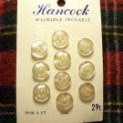 10 Vintage Hancock Sewing Button Lot Pearl White 4 Hole 3/8 Sew Thru 1 Cent USA Ship