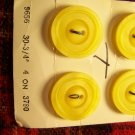 4 Vintage Yellow La Petite Buttons 3/4 Round Deco Retro 1 Cent USA S&H
