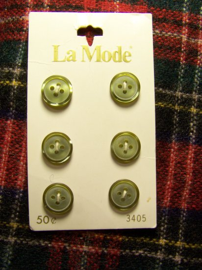 6 Vintage Buttons La Mode 7/16 Moss Green 1 Cent USA Shipping