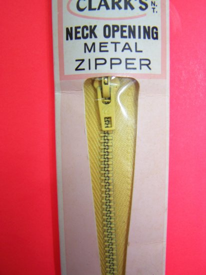 """Vintage Clark's Metal Zipper 18"""" Yellow Neck Opening USA 1 Cent Shipping"""