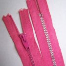 "New Vintage Dark Bubble Gum Pink 9"" Metal Zipper"