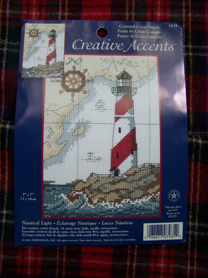 2001 Creative accents Nautical Lighthouse Cross Stitch Pattern Graph USA 1 Cent Shipping
