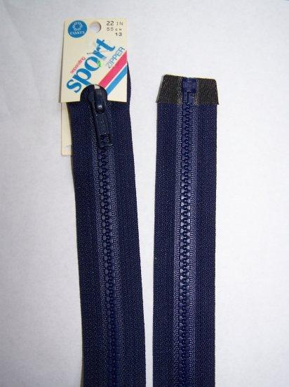 """New Vintage Talon Coats & Clark Separating Sport Zipper Navy Blue 22"""" Nylon"""