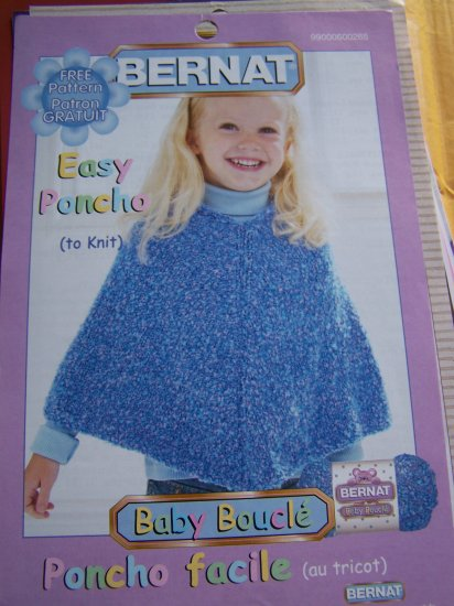 Girls and Toddlers Knitted Poncho Pattern 12M 18M 2/4 & 6/8 yrs USA 1 Cent S&H