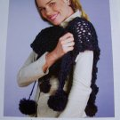 Quick Pom Pom Stole Wrap Knitting Pompom Pattern USA 1 Cent Shipping