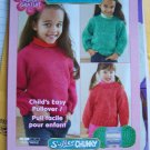 Child's Knitting Pattern Easy Pullover Sweater Sz 2 4 6 8 10 USA 1 Cent Shipping