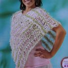 Girls Misses Womens Knitting Poncho Pattern One Size USA 1 Cent S&H
