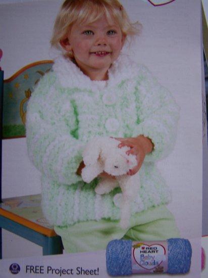 Infant Toddler Knitting Pattern Baby Jacket 6 12 24 36 Months USA 1 C S&H