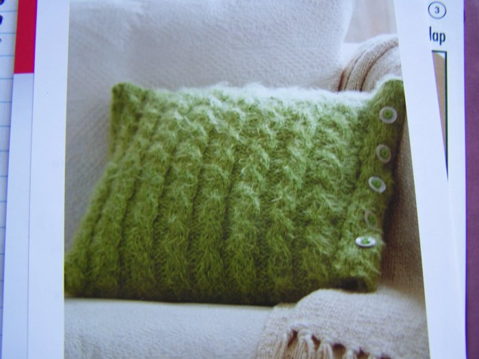 Cable Knit Pillow with Button Flange Knitting Pattern USA 1 Cent S&H Special