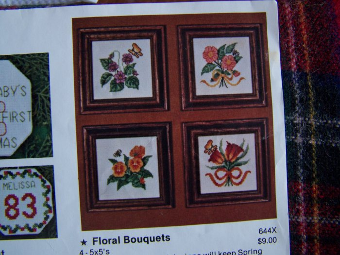 Vintage Artistic Needle Embroidery Patterns Floral Bouquets Tulips Violets Pansies Roses