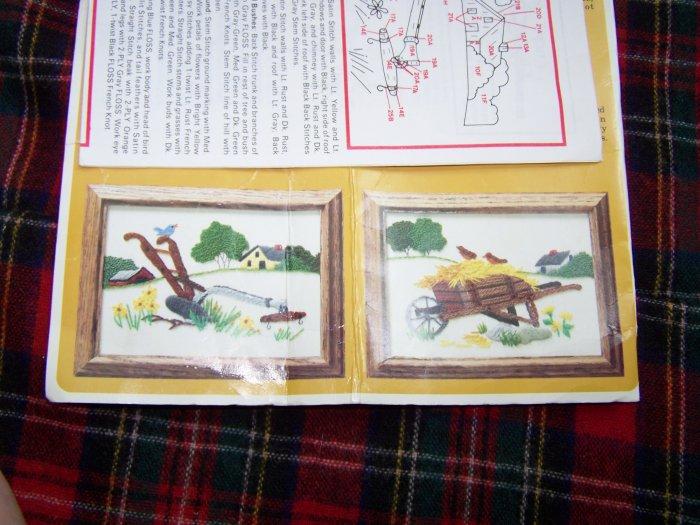 Vintage Embroidery Kit #0036 Creative Circle Plow Wheelbarrow Country Scene