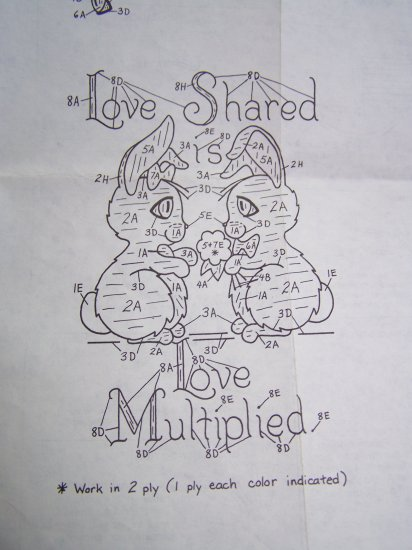 2 Vintage Embroidery Patterns Love Shared Rabbits and Caring Squirrels