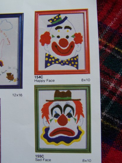 2 Vintage Embroidery Patterns Clowns Sad & Happy Face Clown USA 1 Cent S&H