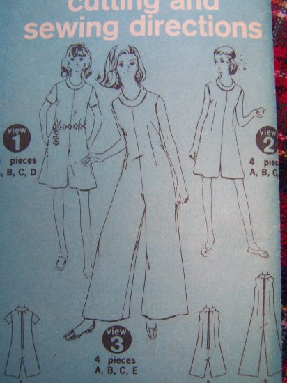 Vintage Womens Jumpsuit in Pants or Romper Sz 12 1/2 Sewing Pattern Simplicity 7695