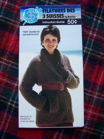 1 Cent S&H USA Vintage Bucilla Pattern Garter St Jacket Wrap Sweater Coat Sz 8 - 18