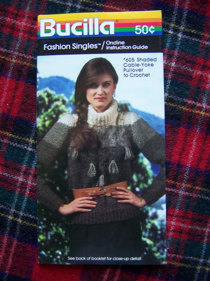 S&H 1 Cent USA Vintage Bucilla Crochet Pattern Shaded Cable Yoke Pullover Sweater