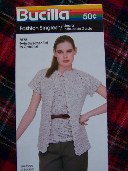1 Cent USA S&H 80s Vintage Bucilla Crochet Pattern Twin Sweater Set Misses 6 8 10 12 14 16