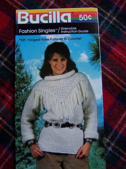 1 Cent USA S&H Vintage Bucilla Crochet Pattern Fringed Yoke Pullover Sweater