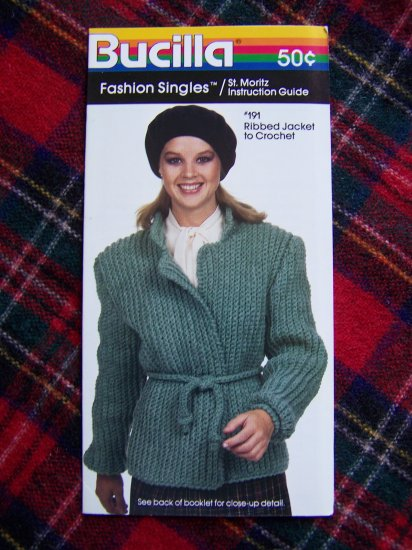 USA 1 Cent S&H 1980s Vintage Bucilla Ribbed Jacket Crochet Coat Sweater Pattern 8 10 12 14 16 18