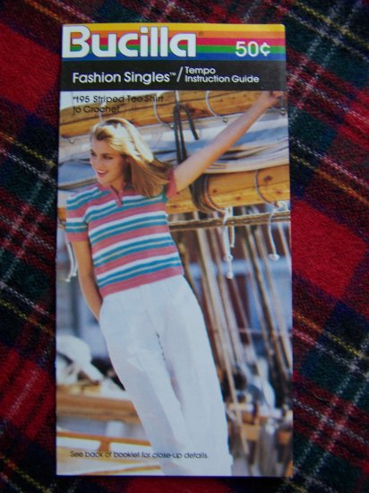 1 Cent S&H USA 80's Vintage Bucilla Crochet Pattern Striped T Shirt Top Short Sleeve 8 10 12