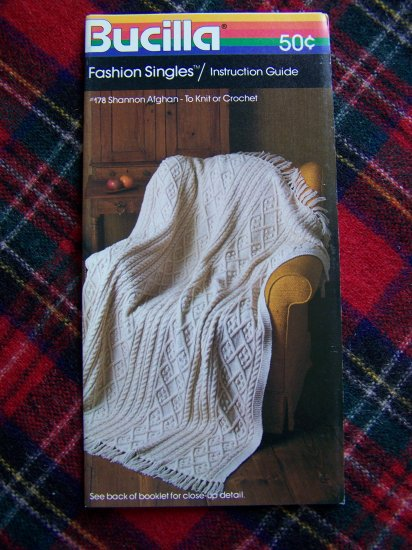 1 Cent USA S&H Vintage Bucilla Knitting or Crochet Shannon Cable Stripe Afghan