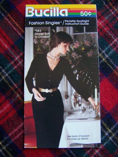 Vintage Crochet Pattern Evening Dinner Suit Top & Skirt Bucilla 2 Pc Dress 10 - 18