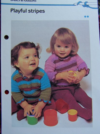 Vintage Crochet Pattern Playful Stripes Sweater Frilly Neck and Sleeve Edge
