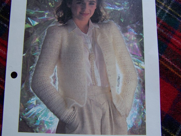 Vintage Crochet Pattern Misses Pearl Beaded Sweater Jacket 1 Cent USA S&H