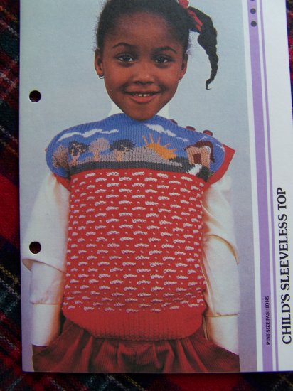 Vintage Childs Sleeveless Knitted Top Pattern 1 Cent USA Shipping