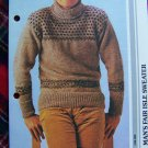 1980's Mens Vintage KNitting Pattern Fair Isle Sweater 1 Cent USA S&H