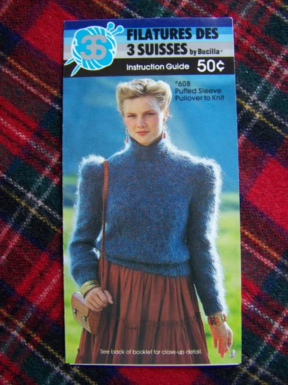 Misses Vintage Knitting Pattern Puffed Sleeve Sweater 10 12 14 16 USA 1 Cent S&H